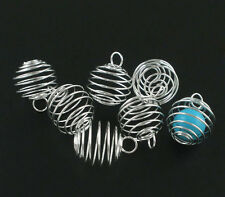 20 SP POP Spiral Bead Cages Pendants Findings 25x20mm