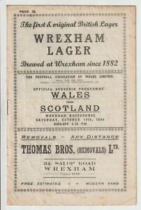 Wales V Scotland International Programme 1946 @ Racecourse Wrexham