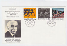 gibraltar 1996 cent.of 1st modern olympics,Sc 711/3,set on FDC           l1219