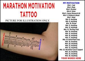 Marathon Mile Motivation Personalised Tattoo Cancer Research UK  Charity Listing
