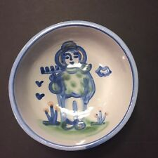 "Vintage M A Hadley Farmer Cereal Fruit Bowl 5 1/4"" Signed Ceramic Pottery"