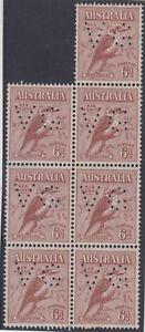 Stamps 1932 Australia 6d brown typographed Kookaburra perfin VG block of 7