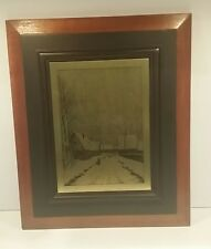 """Vintage Art Eugene Pirodon Brass Etched Panel in Wood Frame - 15"""" x 13"""" - Snow"""
