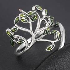 Chic Women 925 Silver Green Leaves Wedding Engagement Peridot Ring