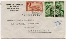 GIBRALTAR 1948 SILVER WEDDING + 1d to CHISWICK GB PRINTED ENV 2d PAID + 2d TAXE