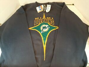 NWT Vintage 90's Miami Dolphins NFL Navy Star Player STARTER Sweatshirt Large