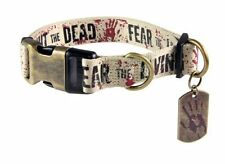 "THE WALKING DEAD ""FIGHT THE DEAD FEAR THE LIVING"" Dog collar LRG 15""-22"" NeckNEW"