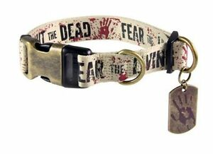 """THE WALKING DEAD """"FIGHT THE DEAD FEAR THE LIVING"""" Dog collar XLRG 21""""-34"""" NEW"""