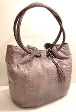 Michael Kors Snakeskin Grey Leather Satchel Shoulder Bag Purse Tassel Tag Charm