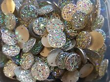 10 sew on stich on 14mm JEWEL GEM CRYSTAL RHINESTONE trim CLEAR AB Bead