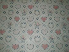 Country Pink & Blue Hearts & Wreaths Wallpaper on a White Background  306-8046