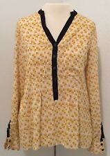 Vanessa Virginia Anthropologie Size 6 Top Black Yellow Long  Roll Tab Sleeve