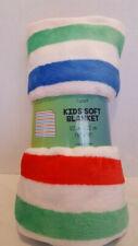 "Kids Soft Blanket 48""x48"" Multicolor Stripe Faux Fur"