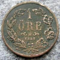 SWEDEN OSCAR I 1858 1 ORE, BRONZE
