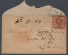 Denmark 1863. Dom. small cover with rouletted stamp folded over edge envelope.