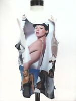 HUDSON Mesh Tank Top SuperModel/Fashion Luxury Shirt White Multi womens XL $65