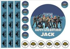 """FORTNITE fr1 EDIBLE 6"""" ICING PERSONALISED CAKE TOPPER inc ribbons  INC FREE GIFT"""