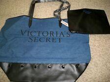 VICTORIAS SECRET BLUE DENIM TOTE WITH BLACK CLUTCH NEW