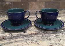 LOT OF 4 DENBY ENGLAND 2 CUPS AND 2 SAUCERS HARLEQUIN SPECKLED GREEN BLUE