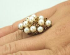 Vintage Large Solid Rose Gold Pearl Cluster Cocktail Ring- Size 6.5
