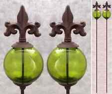 2 FLEUR-DE-LIS & GREEN GLASS GLOBE Cast Iron GARDEN STAKES Yard Art Garden Decor