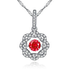 Ruby Pendant For Women 925 Sterling Silver Round Shaped CZ Dancing Necklace,18""