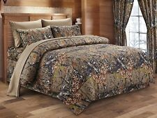 4pc Twin WOODLAND BROWN CAMO COMFORTER & SHEET SET : BED IN A BAG WOODS HUNT