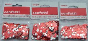 Unique 0.5oz (14.1g) Hearts Foil Confetti - Choice of 1, 3, 6, or 12 Packs - NIP