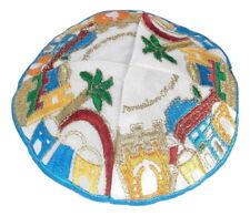 New Children white Jewish kippah Yarmulke Jerusalem of Gold Embroidered Kippas