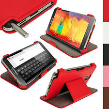 Rosso Eco Pelle Case Cover per Samsung Galaxy Note 3 N9000 N9005 + Prot. Schermo