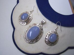 GORGEOUS LARGE ORNATE SOLID STERLING SILVER BLUE CHALCEDONY PENDANT EARRINGS SET