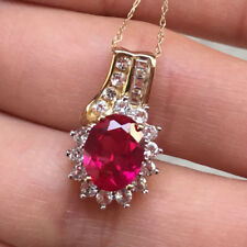 10k Yellow Gold Ruby Sapphire Halo Pendant Necklace