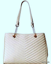 Lulu Guinness 2366 Cream Bone Quilted Tote Handbag Purse Large MSRP $375