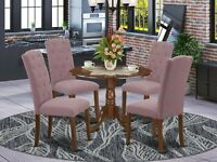 5pc dinette kitchen dining set round pedestal table w/ 4 parsons chairs mahogany
