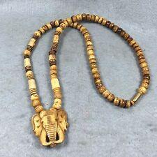 """24"""" Necklace Carve Elephant Head Bone Hanging Amulet Thai Buddha Unisex Talisman"""