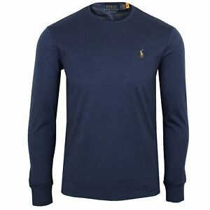 RALPH LAUREN T SHIRT MENS SPRING NAVY PIMA COTTON LONG SLEEVE CREW NECK TOP