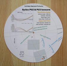 Syrinx PU2 & PU3 Custom Designed Tonearm Cartridge Stylus Alignment Protractor