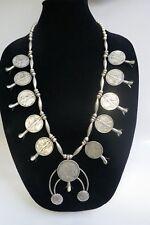 Vintage Navajo Sterling Silver & US Half Dollar Squash Blossom Necklace