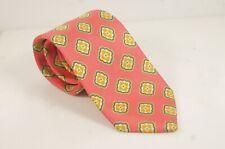 Made in England (Recent) Pink w/ Green & Orange Medallions Luxury Necktie