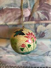 Yellow Lotus Ornament Ball Thailand Bali Bangkok Bird Flower Hand Painted Asian