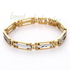 Men's Fashion Stainless Steel Link Chain Bracelet Wristband Clasp Cuff Bangle