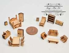 1:144 Laser Cut Dollhouse Four Room Furniture Kit / Diy Dollhouse Miniatures