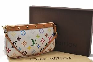 Louis Vuitton Monogram Multicolor Pochette Accessoires White Pouch Box LV C4409