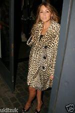 Topshop Premium Celebrity Leopard Animal Print Faux Fur Coat - Size 10