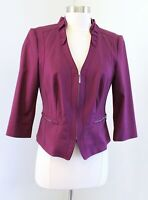 White House Black Market Perfect Form Burgundy Plum Blazer Jacket Ruffle Size 6