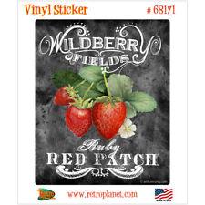 Strawberries Red Patch Chalk Art Vinyl Sticker Vintage Style Laptop Decal