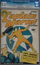 CAPTAIN MARVEL#27 CGC 5.5 FINE-, WWII COVER 1943