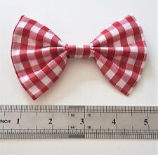 Rockabilly Clip In Hair Bow - Red Gingham Check - 50s Retro Pin Up Hair Tie Gift