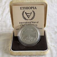 ETHIOPIA 1981 INTERNATIONAL YEAR OF THE DISABLED SILVER 50 BIRR - boxed/coa