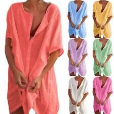 Womens Cotton Linen Blouse Comfy Top T Shirt Mini Dress Plus Size Useful yzs